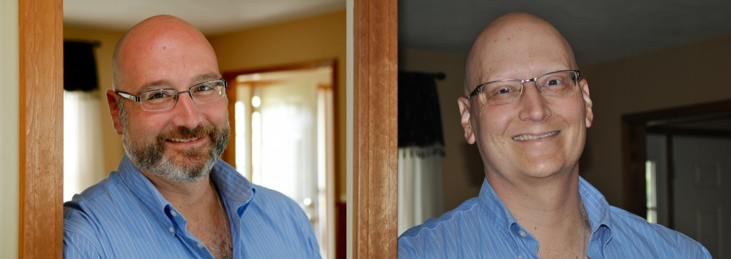 On the left me in the Spring of 2012, on the right, me today at the end of chemo.