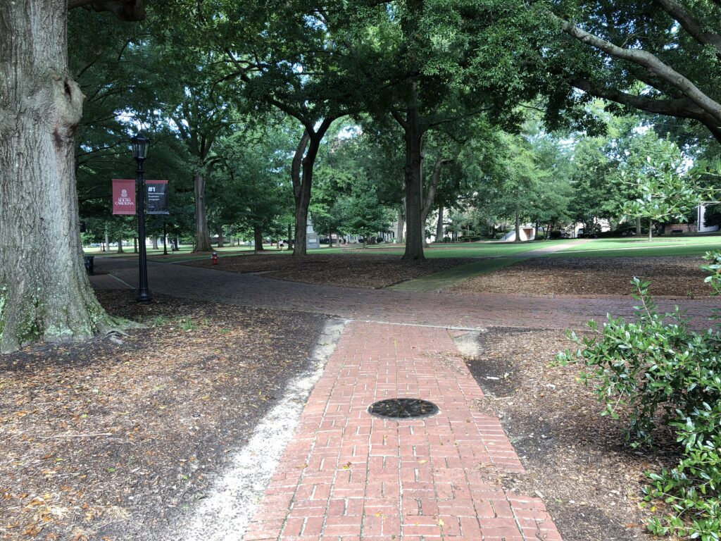Image of an empty center of campus